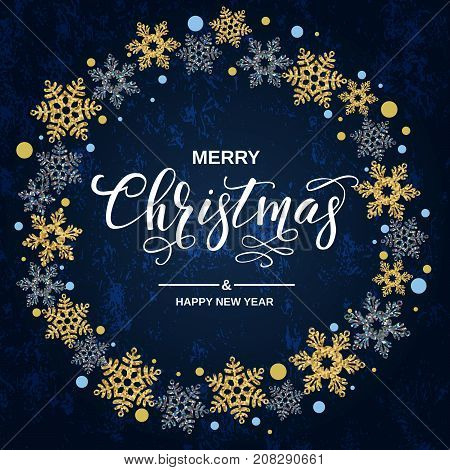 Merry Christmas Handwriting Script Lettering. Christmas Greeting  With Snowflakes On Blue Background