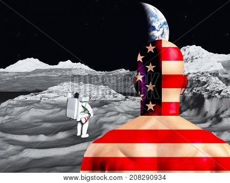 Lunar astronaut views earth rise.  3D rendering     Some elements courtesy of NASA