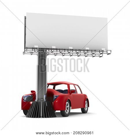 car accident on white background. Isolated 3d illustration