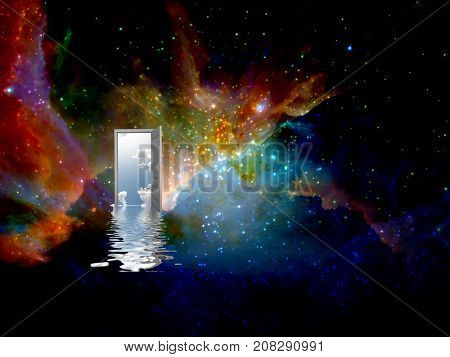 Opened door to another world in endless universe.  3D rendering     Some elements courtesy of NASA