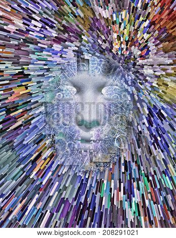 Abstract painting. Face in rays of light. Brushstrokes.  3D rendering