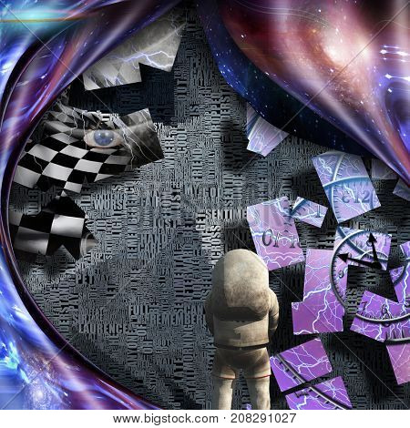Surrealism. Spirals of time and warped space. Astronaut. Checkered woman's face with lightning. Words.  3D rendering     Some elements courtesy of NASA