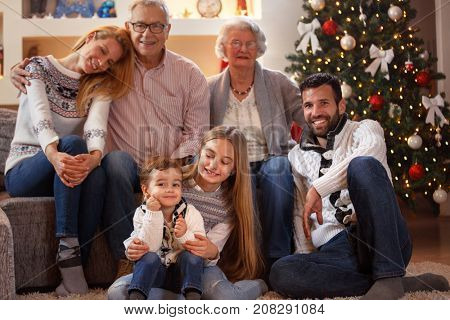 Portrait of extended smiling family on Christmas