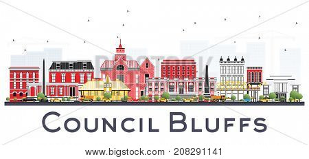 Council Bluffs Iowa Skyline with Color Buildings Isolated on White Background. Business Travel and Tourism Illustration with Historic Architecture.