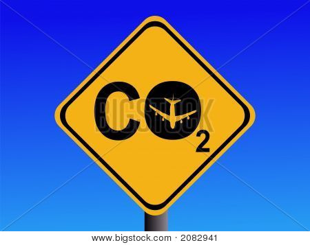 poster of Warning CO2 emissions from air travel sign