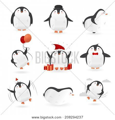 Collection of cute penguins characters. Set of funny birds.
