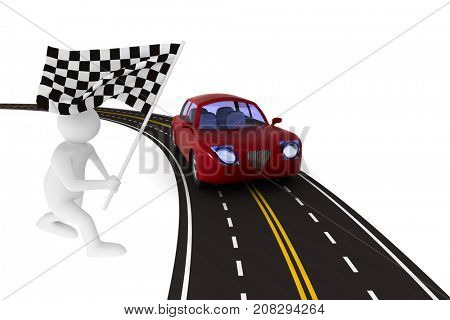 asphalted road on white background. Isolated 3D illustration