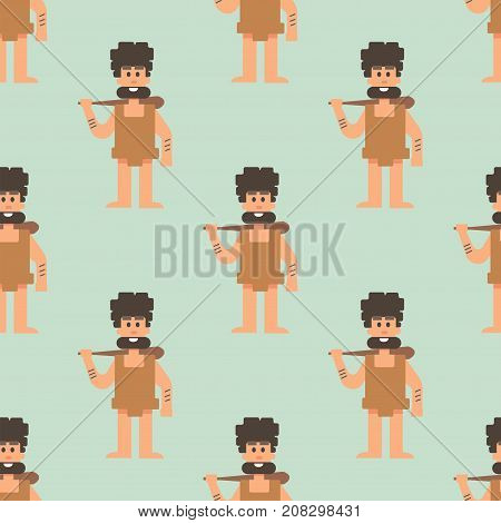 Caveman primitive stone age cartoon neanderthal people action character evolution vector illustration. prehistoric muscular warrior anthropology homo evolution seamless pattern background.