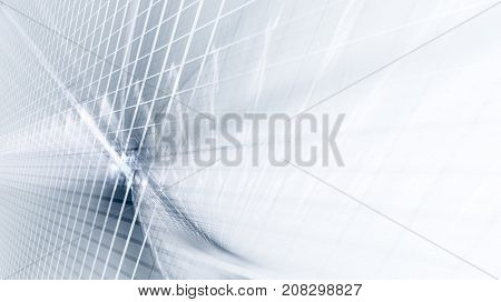 Abstract blue and white background. Fractal graphics series. Three-dimensional composition of intersecting grids. Information technology concept.
