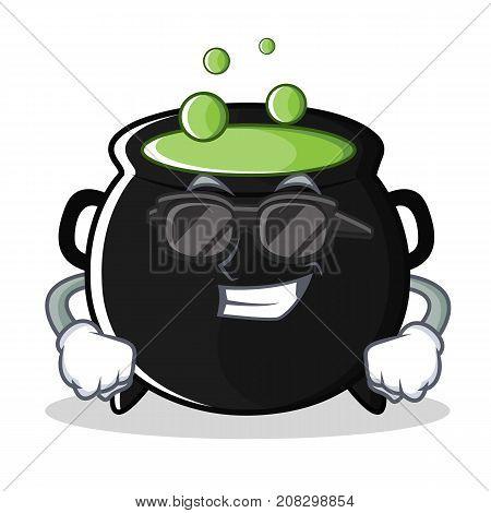Super cool magic cauldron character cartoon vector illustration