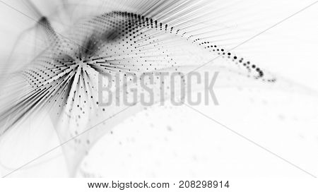 Abstract black and white background. Fractal graphics series. Three-dimensional composition of bokeh blurs and light beams.