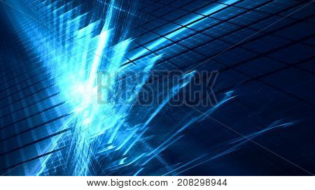 Abstract blue and black background. Fractal graphics series. Three-dimensional composition of intersecting grids. Information technology concept.