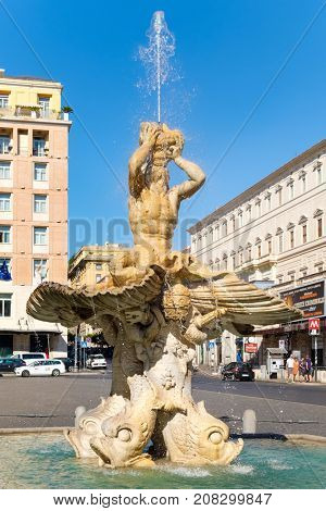 ROME.ITALY - JULY 16, 2017 : The Triton Fountain by Gian Lorenzo Bernini at Piazza Barberini in the historic center of Rome