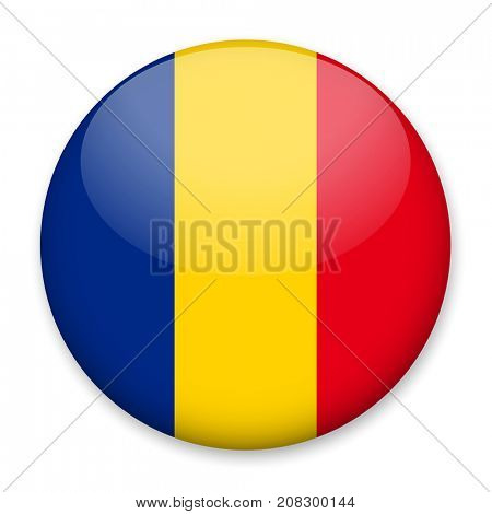 Flag of Romania in the form of a round button with a light glare and a shadow. The symbol of Independence Day, a souvenir, a button for switching the language on the site, an icon.
