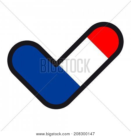 Flag of France in the shape of check mark, sign approval, symbol of elections, voting.