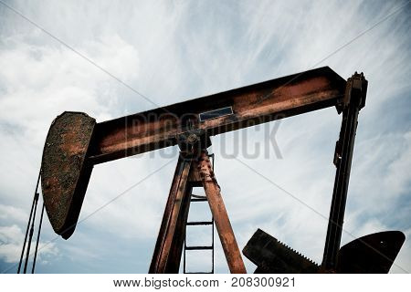 Oil well in Ayoluengo de la Lora, Burgo Province, Castilla Leon, Spain.