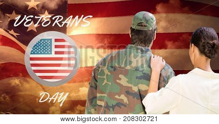Digital composite of veterans day soldier in front of flag