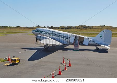 WHAKATANE, NEW ZEALAND - MARCH 6, 2016: Air Chathams DC-3 at Whakatane Airport. Introduced in 1936 the Douglas DC-3 has been an important model of aviation history. with some of them still in service