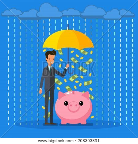 Concept of protection and saving money. A businessman with umbrella protecting his piggy bank. Flat design, vector illustration.