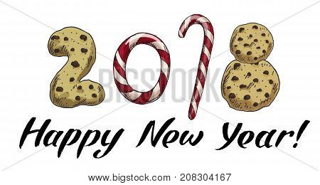 New Year 2018 . Winter card with candies and biscuits. Vector image for new years day christmas sweet-stuff winter holiday new years eve.