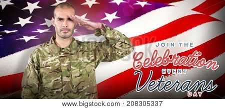 Portrait of confident soldier saluting against waving flag of america