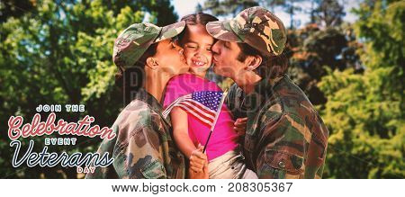 Army couple kissing daughter against logo for veterans day in america