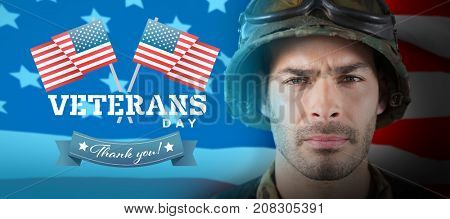 Close up of unsmiling soldier against highly detailed 3d render of an american flag