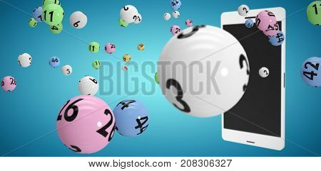 3D image of colorful bingo balls against blue vignette background