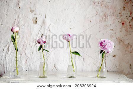 Flower arrangement in glassware decoration