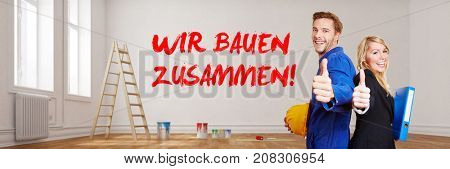 3D Rendering of craftsman and architect with german text on wall wir bauen zusammen (we build together)