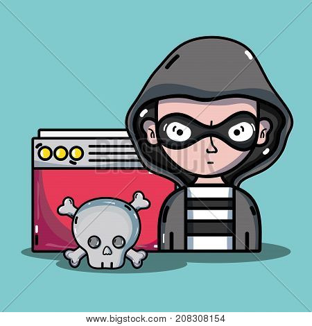 person hacker to programmer virus in the system vector illustration