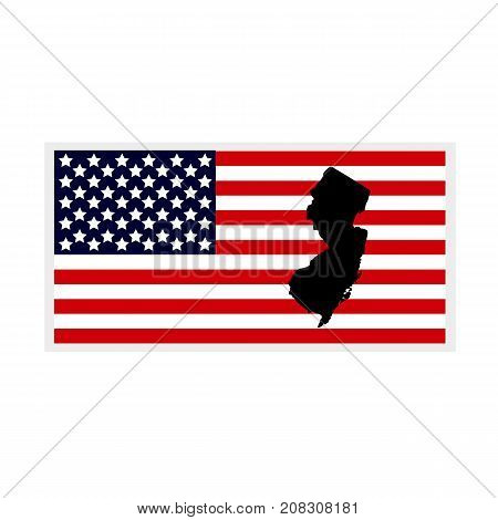 Map of the U.S. state of New Jersey. American flag