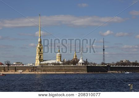 SAINT PETERSBURG, RUSSIA, MAY 04, 2017:Panorama of St. Petersburg. View of the Peter and Paul Fortress.