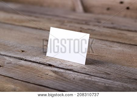 Business Cards Isolated On Old Wood Background