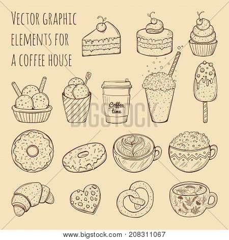 Hand drawn vector illustration - collection of goodies, sweets, cakes and pastries. Design elements in sketch style for confectionery and coffee shops. Perfect for menu, cards, blogs, banners, flyers