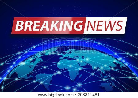 Breaking news live on blue world map background. Business technology concept. TV news Vector illustration EPS 10