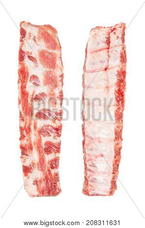 Pork ribs isolated on white background closeup top view