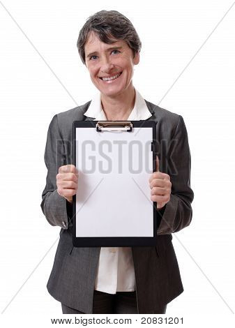 lady showing a notepad