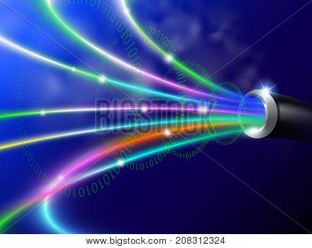 fiber optic digital technology. vector realistic file