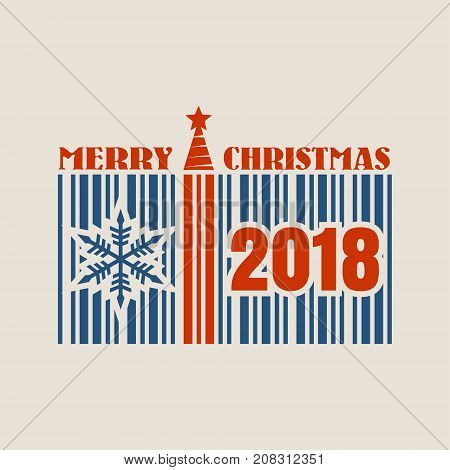 New Year and Christmas celebration card template. Merry Christmas textand snowflake icon. Bar code with 2018 number. Vector illustration relative to holiday sales