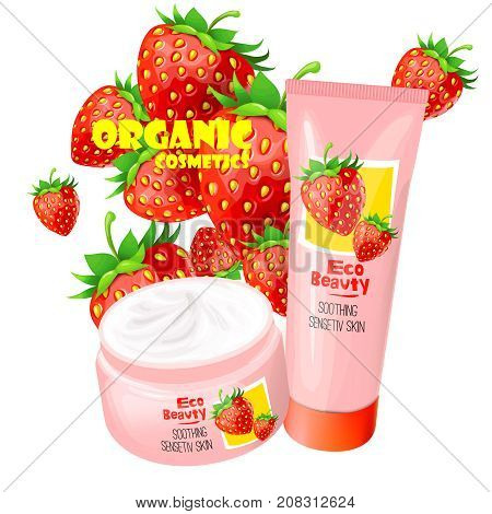 Branded tubes of soothing cream with strawberries for sensitive skin realistic vector illustration isolated on white background. Organic cosmetics concept for womens  body care eco beauty product ad