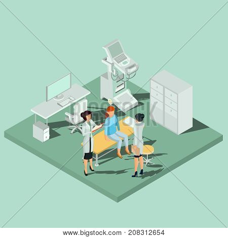 Medical cabinet with sonography equipment for ultrasound research, doctor work desk with computer and couch for patient isometric vector illustration. Technologies for diseases diagnosis