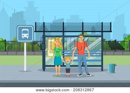 Family husband and wife with kid boy waiting for transit on a city bus stop. vector illustration in flat style