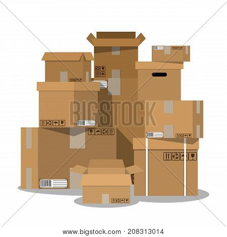 Pile of stacked sealed goods cardboard boxes. vector illustration in flat style