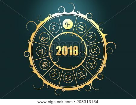 Astrological symbols in the circle. Capricorn sign. Celebration card template. Zodiac circle with 2018 new year number. 3D rendering