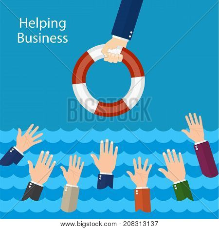 Helping Business survive. Businessman holding a lifebuoy in hand. Drowning businessman getting lifebuoy for help, support, and survival. Vector illustration flat design.