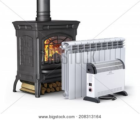 Wood burning stove, radiator and convector heater - 3D illustration