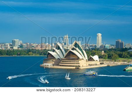 SYDNEY - August 15 2017: Sydney Opera House Sydney Australia. The Sydney Opera House is a famous arts centre. It was designed by Danish architect Jorn Utzon finally opening in 1973.