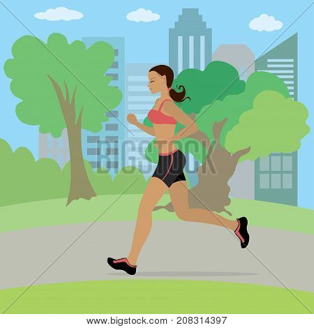 Young And Slim Woman Running In The Park