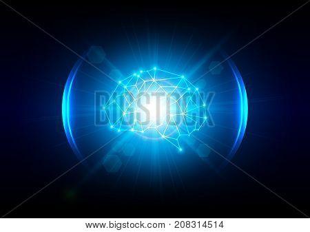 Abstract lighting digital brain technology concept. illustration vector design